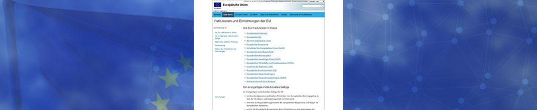 Übersichtsseite aller EU-Institutionen